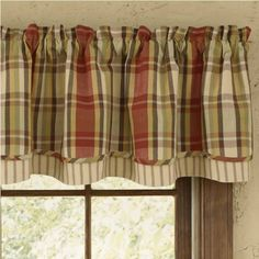 "The Heartfelt Lined Layered Valance window curtain topper is created using two layers of coordinating fabric. Designed to be gathered approximately one and a half times the width of your window. Use multiple panels for wider windows. Lined. 100% cotton. 72"" W x 16"" L #country #valance #curtains"