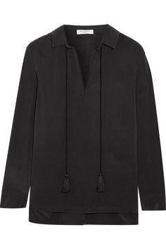 Equipment - Bristol Tasseled Washed-silk Blouse - Black