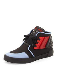 N3RX6 Giuseppe Zanotti Foxy London High-Top Sneaker, Black/Red/Blue