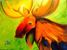 Moose. Zoe Kelly-Soldner. Abstract oil painting on canvas.
