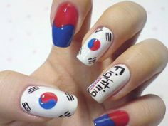 32 Beautiful Korean Nail Art Designs for 2015 - Nail Art - Katzen witzig Trendy Nail Art, Cute Nail Art, Beautiful Nail Art, Army Nails, Flag Nails, Korea Nail, Korean Nail Art, Nail Art Images, Kawaii Nails