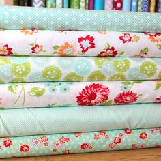 Bright Red Orange and Aqua Floral Fabric by RaspberryCreekFabric, $13.27