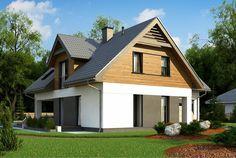 Jednorodzinny dom parterowy z poddaszem użytkowym i garażem oraz nowoczesną elewacją z drewnianymi elementami. #projekty #domów Bungalow Exterior, Home Exterior Makeover, Architect House, Facade House, Simple House, Cladding, House Plans, New Homes, Real Estate
