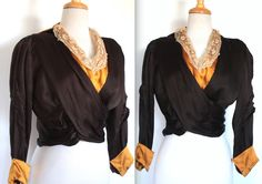 Antique Victorian Blouse // 1800s 1900s Black and Gold Silk Wrap Blouse with Lace Trim // Pigeon Bust Gibson Girl // Edwardian Sailor Collar by TrueValueVintage on Etsy