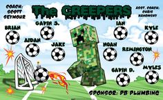The Creepers Soccer sports team banner, made in the USA and shipped fast by Banners USA. http://www.bannersusa.com/