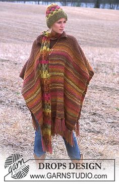 DROPS 93-32 - Serape, crocheted hat and scarf