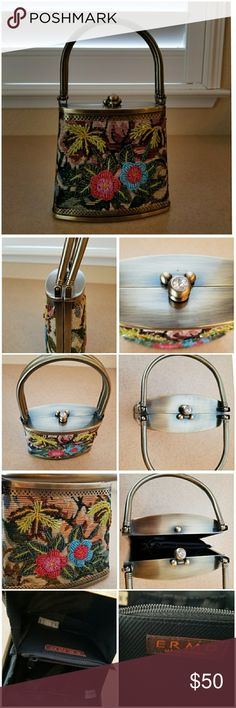 Beautiful Ermo Beaded Metal Handbag Estate Sale.  Gorgeous floral beaded bag.  Brushed Metal on outside. Rhinestone opening and closure. Another great find from Grandmas closet.  Please see all pictures for more detail. Never Used.  Great condition Bags Mini Bags