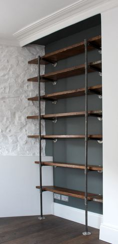 Reclaimed Scaffolding Boards and Steel Pipe Wall Mounted and Floor Standing Industrial Chic Shelving/Bookcase - Urban Design -- this looks like the best DIY industrial shelving I've seen. Office Shelving, Bookcase Shelves, Shelving Ideas, Pipe Bookshelf, Shelving Design, Bookcases, Wall Shelves, Storage Ideas, Wood And Pipe Shelves