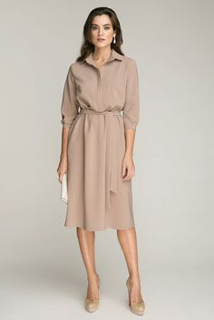 Retro Inspired Dress With Pockets Beige Dresses, Modest Dresses, Simple Dresses, Casual Dresses, Fashion Dresses, Summer Dresses, Fashion Tips For Girls, Girl Fashion, Jeans Fashion