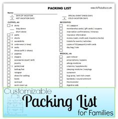 Packing List Printable - Customizable for travel planning | StuffedSuitcase.com family vacation tip