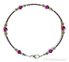Anklet Jewelry Khaki Fuchsia Persian Crystal Anklet - SWCreations - Anklet inch length created with delicate matte khaki and fuchsia seed beads, khaki and fuchsia Swarovski Austrian crystals, bright Bali silver, and sterling silver. Anklet Jewelry, Beaded Anklets, Beaded Jewelry, Beaded Bracelets, Silver Jewelry, Silver Charms, Silver Bracelets, Swarovski Bracelet, Ankle Bracelets