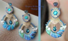 Earrings - Designed by Serena Di Mercione - Soutache - Shibori silk, Swarovski, pearls.