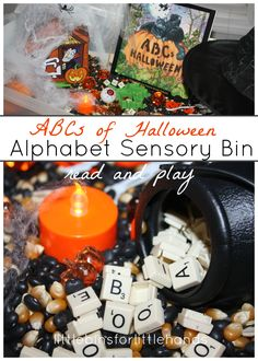 Alphabet Halloween Sensory Bin Read and Play with ABC's Halloween. Tactile sensory play while learning the alphabet. Add scrabble letter tiles and inexpensive Hallowen decor for an easy Halloween themed learning activity.