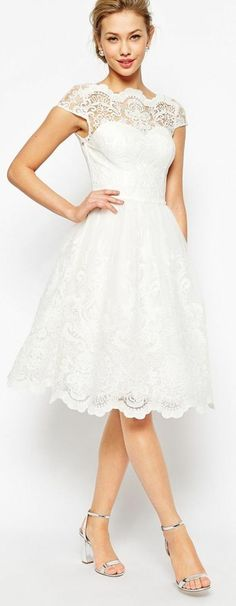 Short and Tea Length Wedding Dresses : The perfect 'Rehearsal Dinner' dress! Lace Dress, Dress Up, White Dress, White Lace, Wedding Dress Trends, Wedding Gowns, Lace Wedding, Trendy Wedding, Robes De Confirmation