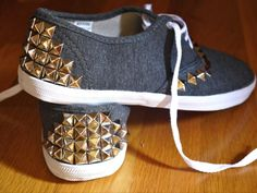 DIY Spikes : DIY Studded Canvas Sneakers  : DIY Shoes DIY Refashion