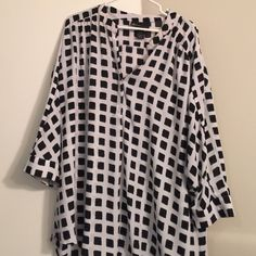 3 quarter length sleeve tunic/ size 22/24 V neck. Slight high low back. Slightly see through (would need cami). Buttons at sleeve and at v neck. Lane Bryant Tops Blouses