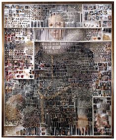 Artist Michael Mapes dissects photos and arranges them, pinning fragments like insects, and putting other pieces in vials.