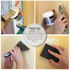Be sure to patch holes in your wall before painting for a more professional end result #paint #tip