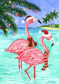 PINK FLAMINGO CHRISTMAS Coastal Beach Custom Decor Garden Flag Printed In USA #CustomDecor