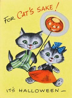 Vintage Halloween card with dressed cats