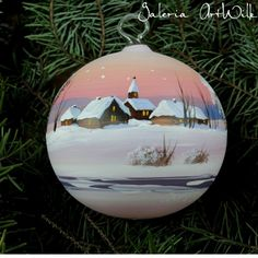 Hand painted glass ball by ArtWilk Glass Christmas Balls, Christmas Art, Christmas Bulbs, Christmas Decorations, Holiday Decor, Christmas Stuff, Painted Ornaments, Glass Ball, Flower Arrangements