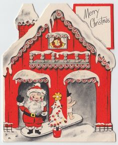Vintage Greeting Card Christmas Die-Cut House Santa New Year Baby Hallmark e498