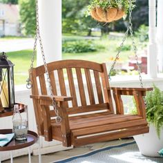 Coral Coast Amherst Single Seat Wood Porch Swing - Natural Image 2 of 6 - women fashion Wicker Porch Swing, Porch And Terrace, Patio Swing, Porch Swings, Hanging Chair With Stand, Hanging Swing Chair, Swinging Chair, Hanging Chairs, Affordable Outdoor Furniture