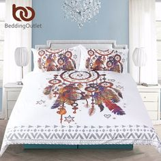 Wunderbar BeddingOutlet Hipster Watercolor Bedding Set Queen Size Dreamcatcher  Feathers Duvet Cover Bohemian Printed Bed Cover 3