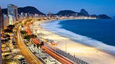 COPACABANA BEACH, RIO DE JANEIRO, BRAZIL Dusk at Copacabana Beach, Rio de Janeiro, Brazil