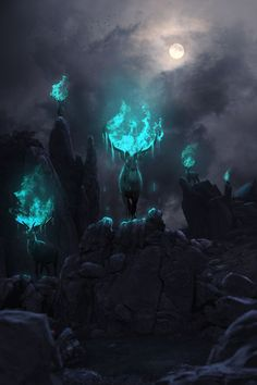 Phosphorescent Art Sacrality by ShortCircuit123 Link - http://rebloggy.com/post/magic-fantasy-digital-art-antlers-digital-painting-fantasy-art-druids-stags-fant/120956024971