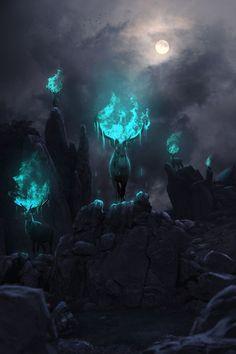 Phosphorescent Art Sacrality by ShortCircuit123 Link - http://rebloggy.com/post/magic-fantasy-digital-art-antlers-digital-painting-fantasy-art-druids-stags-fant/120956024971