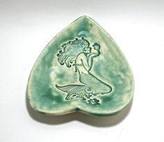 Ceramic Spoon Rest  Little Mermaid with Seahorse by IrihanaArts