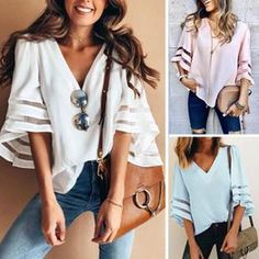 Chiffon, Daily Look, Fashion Boutique, V Neck T Shirt, Ideias Fashion, Street Style, Stylish, Womens Fashion, How To Wear