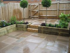 small courtyard garden for entertaining and easy plant maintenance, raised sleeper planting beds, Indian Sandstone paving | Flickr - Photo Sharing!
