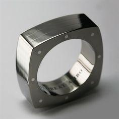 Bespoke Titanium & Solid Sterling Silver Geo Square Wedding Ring - Men's Custom Made Wedding Rings - Stephen Einhorn London