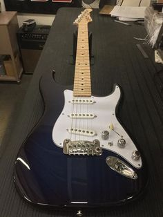 G&L Musical Instruments Here's an S-500 in Blueburst over swamp ash, 3-ply white guard, white covers, chrome knurled knobs, maple neck with Clear Satin finish.