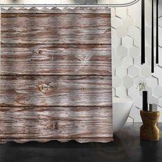 Old Barn Wood Waterproof Fabric Shower Curtain