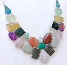 COLORFUL MULTI GEMSTONE FOR PARTY WEAR  925 STERLING NEW SILVER NECKLACE S1497 #Handmade #Cluster #ChristmasJewelry