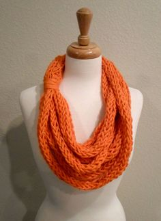 Orange Finger Knit Infinity Scarf by SinCityKnitting on Etsy, $15.00