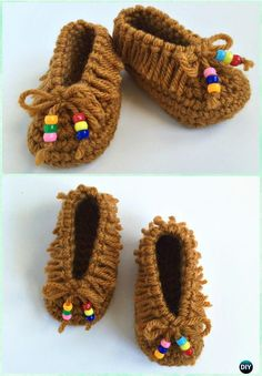 Crochet Baby Moccasins Booties Free Pattern - Crochet Baby Booties Slippers Free Pattern