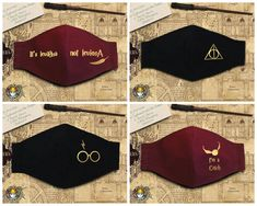 Easy Face Masks, Diy Face Mask, Harry Potter Face, Mouth Mask Design, Harry Potter Accessories, Crochet Earrings Pattern, Mask Ideas, Designs For Dresses, Animation Movies