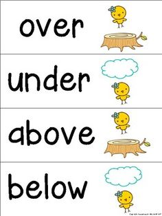 Prepositions Word Wall/Flash Cards by Resources by Kirstin Preposition Activities, Preschool Learning Activities, Speech Therapy Activities, Classroom Activities, Kindergarten Writing, Positional Words Kindergarten, Literacy, Preschool Word Walls, English Teaching Materials