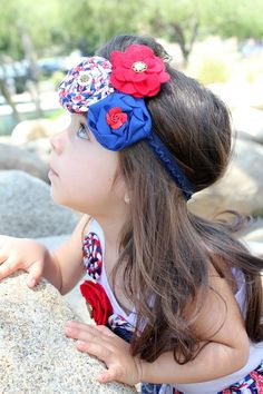 Headband for baby...Headband for girls...Headband for women...Flower headband...Photo prop...Red...White...Blue...Nautical...Fourth of July.. $12.00, via Etsy.