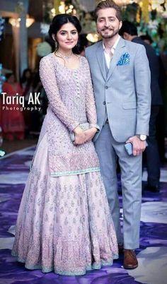 Top 25 Pakistani Celebrity Couple Outfits - Cute Couple Outfits Of Pakistani Celebrities Pakistani Formal Dresses, Pakistani Bridal Wear, Pakistani Outfits, Indian Dresses, Indian Outfits, Ethnic Fashion, Indian Fashion, Muslim Fashion, Bridle Dress