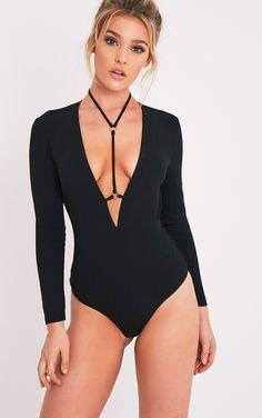 Livvie Black Harness Longsleeve Thong Bodysuit Image 2