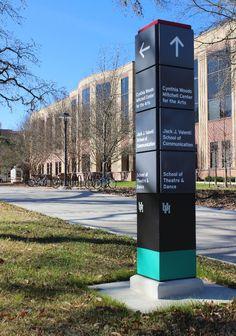 Campus Wayfinding - University of Houston Directional Signage, Wayfinding Signs, Outdoor Signage, Environmental Graphic Design, Environmental Graphics, Lanscape Design, Library Signage, Signage Board, Navigation Design