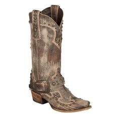Lane Boots Womens Brown Leather Your Harness Buckle Studded Cowgirl