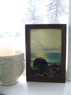 Great Lakes Photograph Print in old wood frame by lookonmytreasures on Etsy