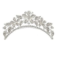 Lux Accessories Pave Crystal Floral Flower Leaf Bridal Bride Wedding Crown Hair Comb * Check out the image by visiting the link.