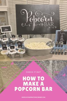 A popcorn bar is a great party food idea, especially if you are wanting to do a food bar. It gives guests lots of options of seasonings and toppings. Great wedding idea. Great graduation idea.